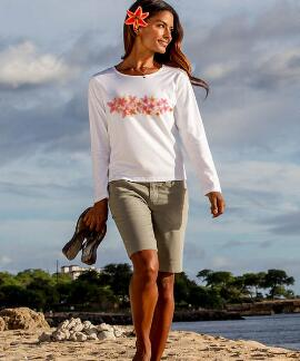 Long-Sleeve Plumeria Band White Scoop Neck