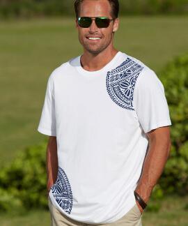 Short-Sleeve Keola Tribal White Pima Shirt