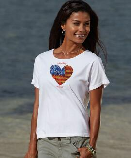 Short-Sleeve Love Of Liberty White Scoop-neck T-shirt
