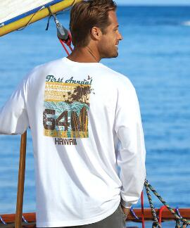 Long-Sleeve Beach Fest White Classic Crew