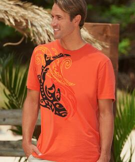 Short-Sleeve Tribal Predator Burnt Orange Pima Shirt