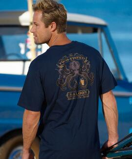 Short-Sleeve Two Fisted Saloon Navy Crew