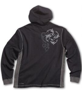 Long-Sleeve Circling Sharks Black/Charcoal Longboard Hooded T