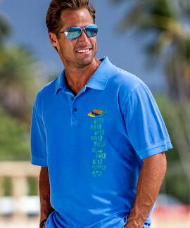 Short-Sleeve Humu Kalakoa Blue Hawaii Pique' Polo Shirt