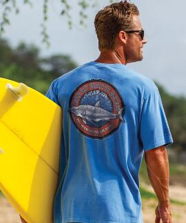 Short-Sleeve Great White Blue Hawaii Crew T-shirt