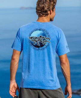 Short-Sleeve Malama Kohola Blue Hawaii Crew T-shirt
