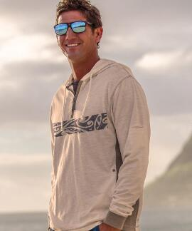 Long-Sleeve Tamanui Natural/Gray Longboard Hooded T