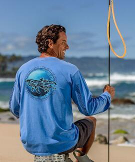 Long-Sleeve Malama Kohola Blue Hawaii Classic Crew