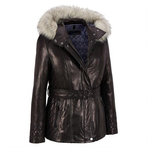 Wilsons Leather Belted Leather Hipster w/ Faux-Fur Lined Hood
