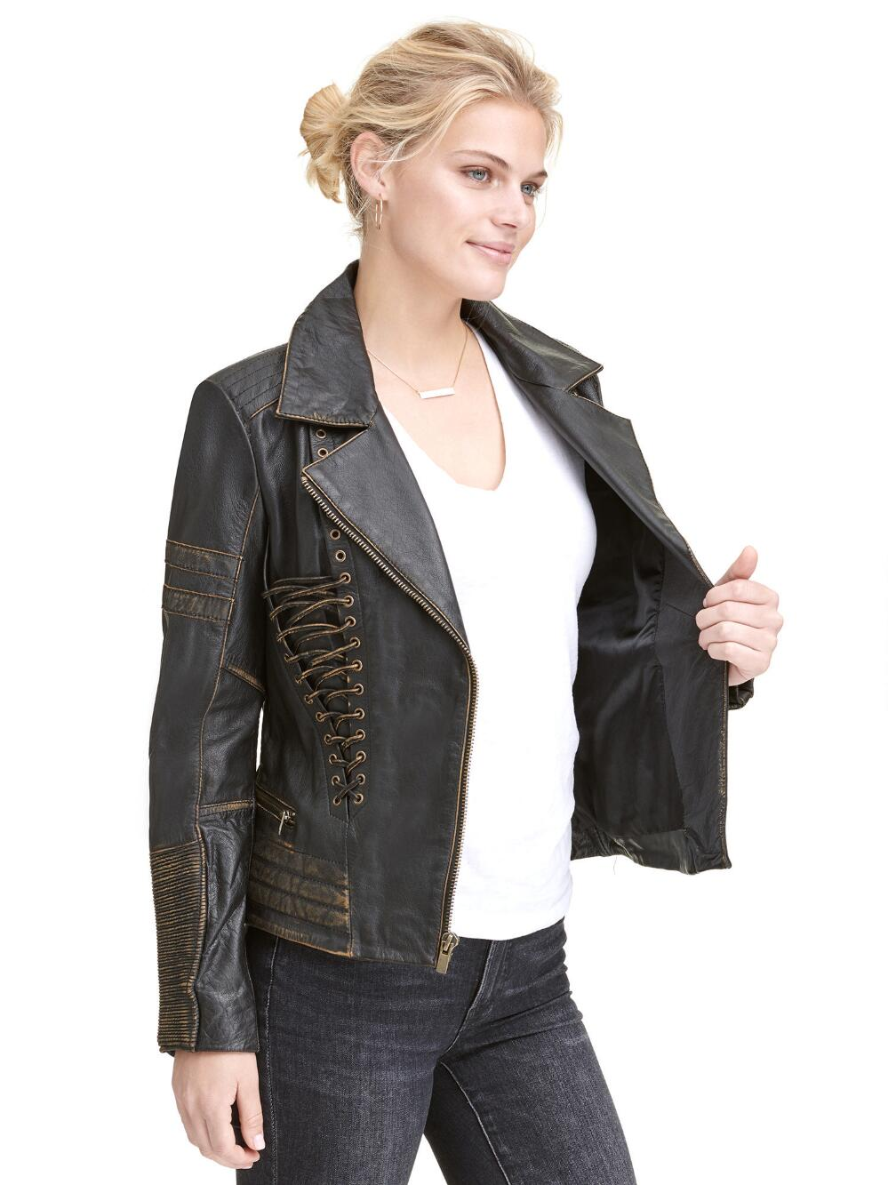 Wilsons Leather Womens Vintage Distressed Leather Asymmetric Jacket W Lace Up D Ebay